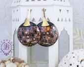 Modern earrings Klimt earrings Circle copper gold earrings Statement  Bohemian earrings Art deco geometric earrings Mother gift for her