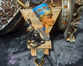 Nefertiti and Bastet Ancient Egyptian necklace, Egyptian Bast Deities jewellery, Symbol Talisman Sacred Mythology jewellery, Protection gift
