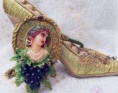 Art nouveau Goddess Flora necklace, Lady and grapes statement necklace, Vintage Art Deco cameo necklace, Nature necklace