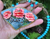 Poppies Art Nouveau Summer necklace, Nature Statement gemstone necklace, Floral jewellery, Art Nouveau jewellery, Poppy charm gift for her