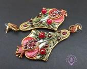 Pomegranate elegant earrings in Art Nouveau style, Garnet fruits statement earrings, Garnet Nature earrings, Garnet charm, Gemstone earrings