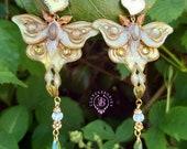 Luna Moth labradorite statement earrings, Moon moth, Vintage polymer clay  butterfly earrings, Gemstone earrings, Butterfly gift for her