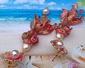 Pink Fish earrings, Fish charm, Fish gift, Fish jewelry, Pisces earrings, Art Nouveau Fish earrings, Nautical earrings, Ocean Sea earrings