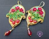 Strawberry Chandelier earrings in Art Nouveau style, Fruits summer statement earrings