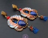 Egyptian Scarab statement earrings, Bug earrings, African earrings, Sacred Mythology earrings, Symbol earrings, Ancient Egyptian amulet