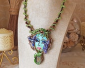 Spring birds necklace Surrealistic necklace Optical Illusion Art necklace Statement necklace Nature necklace Wearable art Polymer clay charm
