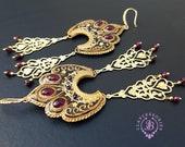 Garnet filigree chandelier earrings,Tudor earrings, Baroque Edwardian earrings, Vintage Victorian earrings, Folk earrings, Bohemian earrings