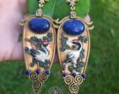 Oriental Japanese Crane earrings, Heron statement earrings, Bird earrings, Crane jewellery, Nature earrings, Egret earrings, Crane gift