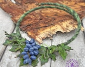 Autumn Grapes necklace, Fall leafs necklace, Autumn festive necklace, Fruits botanical necklace,Nature necklace, Floral Rustic necklace