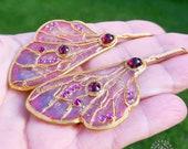 Butterfly wings statement earrings in Art Nouveau style, Sprite Fairy wings earrings, Pink wings earrings