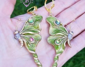 Butterfly earrings Green LunaMoth earrings Butterfly crystal earrings Nature earrings Long Dangle Art Nouveau earrings Mother gift for her