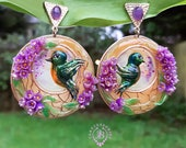 Spring Lilac flowers Art Nouveau earrings, Birds earrings, Nature gemstone earrings, Statement Turquoise earrings, Mother day gift for her