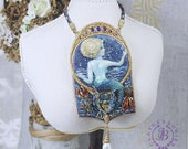 Mermaid necklace Nautical Sea necklace Pearl necklace Nature necklace Gemstones necklace Mermaid Art Nouveau pendant Mother gift for her