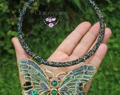 Sparkle necklace with butterfly pendant Butterfly bib necklace Butterfly crystal charm Green necklace Mother gift for her
