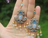 Moonstone earrings, Art Nouveau earrings, Statement earrings, Birthstone earrings, Vintage earrings,  Russian Empire earrings, Long earrings