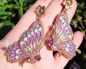 Cloisonne Butterfly earrings in Art Nouveau style,  Butterfly jewellery, Butterfly charm gift, Nature statement earrings, Wings earrings
