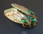 Malachite Cicada brooch Art Nouveau style, Cicada pin, Statement Insect brooch, Bug brooch, Beetle brooch, Nature brooch, Cicada charm gift