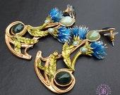 Floral Art Nouveau earrings, Vintage statement earrings,Tudor earrings, Nature gemstone earrings, Elegant earrings, Statement earrings