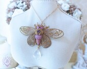 Purple Cicada pendant Bug pendant Cicada Jewellery Nature pendant Insect pendant Organic pendant Woman's Unisex pendant Mother gift for her