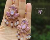 Birthstone Art Nouveau earrings, Statement earrings, Vintage pink earrings, Moonstone earrings, Russian Empire earrings,Gemstone earrings