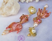 Art Nouveau fish pearl earrings, Pisces earrings, Pink Fish earrings, Nautical earrings, Vintage fish earrings,  Ocean earrings,Sea earrings