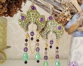 Amethyst Chandelier Filigree Folk Russian dome  earrings, Tudor earrings, Baroque Edwardian earrings, Vintage Victorian earrings