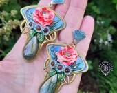 Poppy Art Nouveau Summer flowers earrings, Poppy jewellery, Baroque Statement earrings,Tudor earrings, Nature gemstone earrings, Floral gift