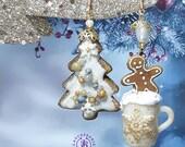 Christmas Gingerbread cookies earrings, Cups earrings,Festive earrings Winter earrings , Food earrings, Christmas jewellery, Christmas gift