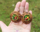 Autumn earrings Statement earrings Rustic jewellery Boho jewellery Apple earrings Polymer clay jewellery