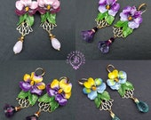 Pansies flowers earrings in Art Nouveau style, Statement summer floral earrings