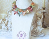 Autumn leaves necklace Organic leaves necklace Nature necklace Fall bib necklace Rustic necklace  Boho colorful necklace Mother gift for her