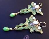 Luna Moth opal shimmers wings earrings, Statement butterfly earrings, Gemstone earrings, Nature earrings, Luna moth charm, Butterfly gift