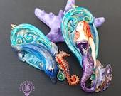 Mermaid statement earrings in Art Nouveau style, Nautical earrings, Mermaid jewellery, Mermaid charm, Mermaid gift, Polymer clay jewellery