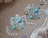 Turquoise Chandelier Filigree earrings, Dangle earrings, Tudor earrings, Baroque Edwardian earrings, Vintage Victorian earrings