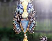 Peacock Art Nouveau  pendant necklace, Peacock charm, Peacock gift,Bird necklace, Peacock jewellery, Agate Druzy necklace, Gemstone necklace