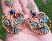 Peacock earrings in Art Nouveau style, Peacock tail statement earrings, Peacock feather earrings, Peacock charm,Peacock gift,Birds earrings
