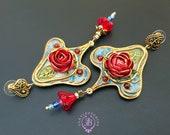 Red Rose Art Nouveau earrings, Vintage style floral earrings, Tudor earrings, Nature gemstone earrings, Elegant earrings, Statement earrings