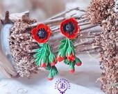 Poppy earrings Poppy flower Red poppies Red flowers earrings Floral earrings Botanical earrings Nature earrings Poppy jewellery Gift for her