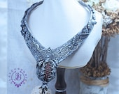Pomegranate Ethnic necklace Oriental Bib necklace Statement Silver Pomegranate necklace Filigree Collar necklace Mother gift for her