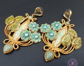 Floral Art Nouveau earrings, Vintage style flowers earrings, Tudor earrings, Nature gemstone earrings, Elegant earrings, Statement earrings