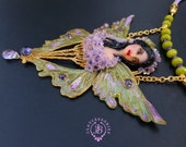 Butterfly green shimmers wings necklace in Art Nouveau style, Statement butterfly pendant, Ametyst necklace, Butterfly gift
