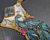 Peacock Art Nouveau necklace, Peacock statement pendant, Peacock charm, Peacock jewellery, Peacock gift, Gemstone necklace, Polymer clay
