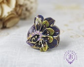 Peacock statement adjustable ring  Amethyst ring Gemstone ring Purple gold big ring Birthstone vintage ring Mother gift for her