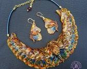 Butterfly bib necklace earrings jewellery set