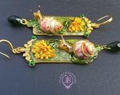 Garden nature flower earrings in Art Nouveau style, Statemnt snail earrings, Vintage style dandelion earrings