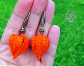 Physalis earrings, Autumn flower earrings, Fall floral earrings,Woodland earrings,Nature earrings,Botanical earrings,Autumn festive earrings