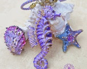 Seahorse statement pendant, Summer Seahorse necklace, Seahorse amethyst charm, Seahorse gift for her, Seahorse jewellery, Nautical necklace