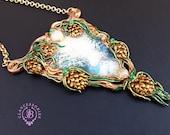 Art Nouveau Christmas Pine cone necklace, Winter landscape Christmas necklace, Nature statement necklace, Christmas gift