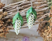 Lily of the valley earrings Spring flowers earrings Floral polymer clay earrings Nature green earrings Rustic earrings Flowers gift for her