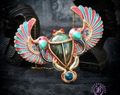 Egyptian Scarab Cloisonne necklace, Scarab pendant, Ancient Egyptian amulet, African necklace, Sacred Mythology necklace, Symbol necklace